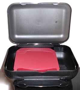 1a TUPPER A136 Brotdose LUNCH-BOX Schulbrotdose --- schwarz brombeer-rot
