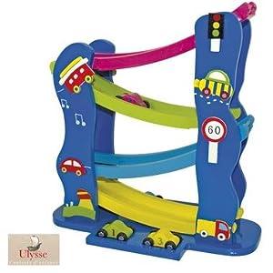 Circuit de 4 voitures toboggan en bois Jeu d'observation enfant 2 ans +: Amazon.fr: Bébés ...