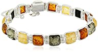 Sterling Silver Multicolored Amber Br…