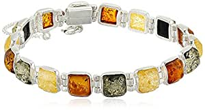 """Sterling Silver Multi-Color Amber Bracelet, 7"""""""