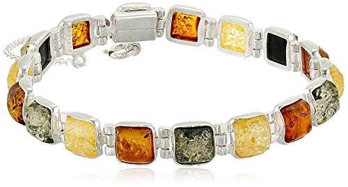 Sterling Silver Multicolored Amber Bracelet