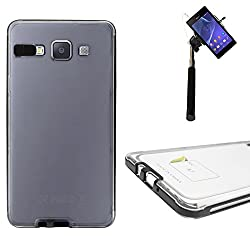 DMG LED Flashing Call Notification TPU Back Cover Case for Samsung Galaxy A7 (Black) + Selfie Stick Monopod with Aux (No Battery Needed)