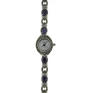 sterling silver marcasite simulated amethyst watch