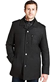 Big & Tall Funnel Neck Checked Coat with Wool