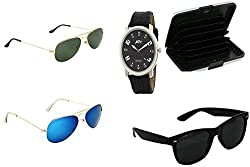 ATC Combo Three Sunglasses & Card Wallet & Black Analogue Wrist Watch for Men - CSSSB-01