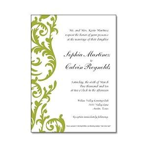 Dark Citron Swirl Personalized Wedding Invitations
