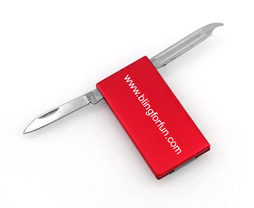 Personalized Stainless Steel 2 Tool Money Clip - Free Engraving (Red)