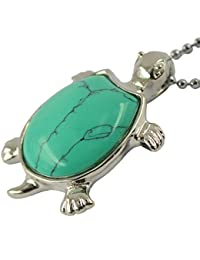 Generic Turquoise Silver Turtle Pendant Necklace Long Chain Sweater Necklace