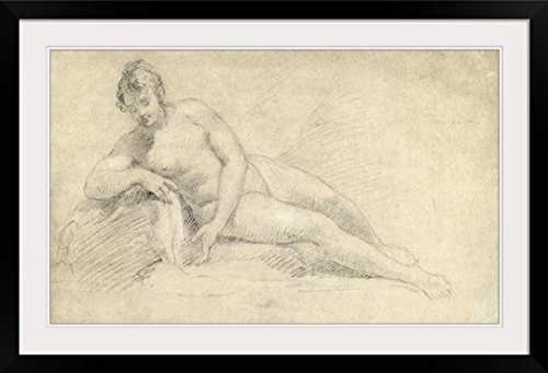 "GreatBIGCanvas ""Study of A Female Nude (Pencil and Chalk on Paper)"" by William Hogarth Photographic Print with black Frame, 36"" X 22"""""
