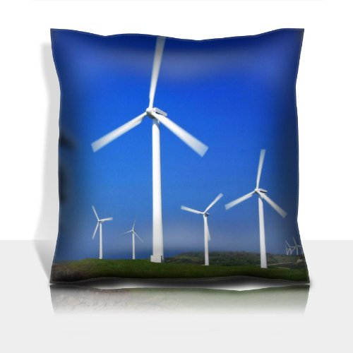 Ocean Windmills Generators Turbines Scenery 100% Polyester Filled Comfort Square Pillows Customized Made To Order Support Ready Premium Deluxe 17 1/2 Inch X 17 1/2 Inch Graphic Background Covers Designed Color Definition Quality Simplex Knit Fabric Soft W