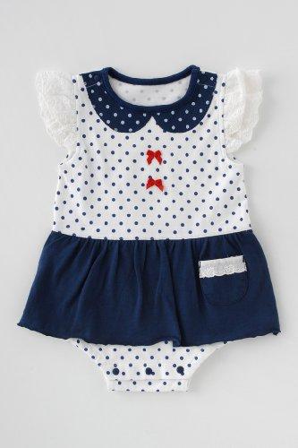ニシキ スカート付き半袖ロンパース P2489 70cm ブルー(水玉)