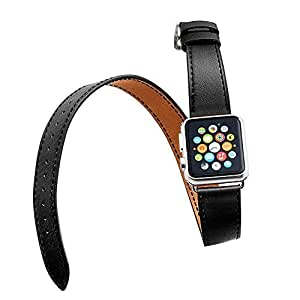 House of Quirk House of Quirk Hermes Long Wrap Apple Watch Strap, Premium Genuine Leather Band for Iwatch, Double Tour Bracelet for Apple Watch Black