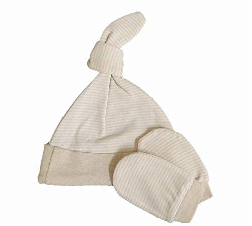 オーガニックコットン 赤ちゃん 指なし手袋&帽子セット ボーダー 天然色 AMENITYLIFE