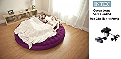 Intex Ultra Lounge Queen Size Inflatable Velvet Sofa Cum Bed with Free Powerful G18© Electric Pump