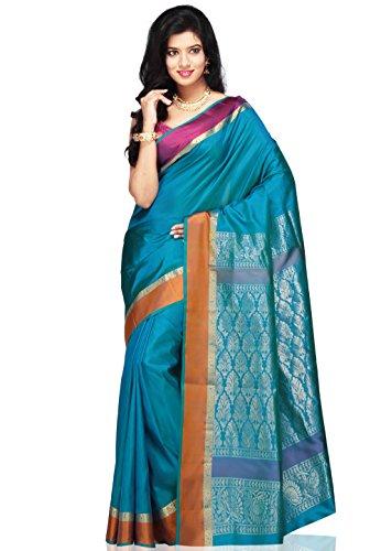 Utsav Fashion Women's Aqua Shot Tone Pure Bangalore Handloom Silk Saree with Blouse