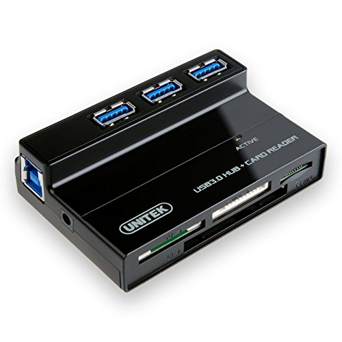 UNITEK 3 Ports USB 3.0 Hub with Multi-In-1 Card Reader with 5V 2A Adapter and USB 3.0 Cable for iMac, MacBook, MacBook Pro, MacBook Air, Mac Mini, Lenovo Yoga, or any PC (Cf Thunderbolt compare prices)