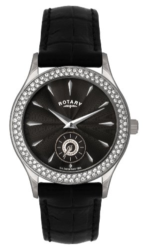 Rotary Women's Quartz Watch with Black Dial Analogue Display and Black Leather Strap LS02908/04