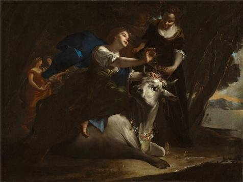 Oil Painting 'Bernardo Cavallino,Europa And The Bull,1645', 18 x 24 inch / 46 x 61 cm , on High Definition HD canvas prints is for Gifts And Basement, Kids Room And Nursery Decoration (Super Bowl 46 Blu Ray compare prices)