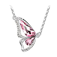eFuture(TM) Pink Crystal Elements Platinum Plated Half Wing Butterfly Pendant Necklace +eFuture's nice Keyring