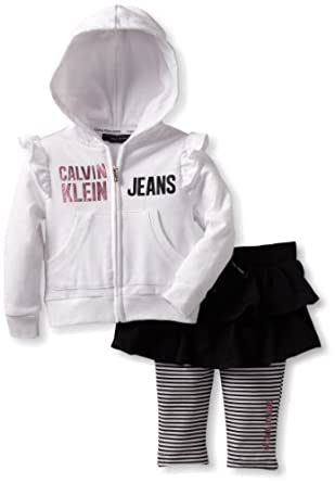 Calvin Klein Baby-Girl's Infant Hooded Top With Skegging, White, 24 Months