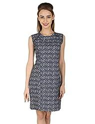 Aussehen Women's Linen Casual Dress (AU 9009_XL_Blue and Grey)