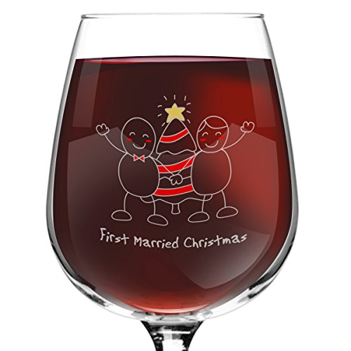 First Married Christmas Wine Glass- 12.75 oz. - Romantic Red or White Wine Glass Gift - Made in USA - Present Idea for Recent Newlyweds, Recenlty Hitched Couples