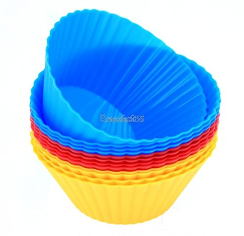 12 PCS Round Silicone Baking Cups Dessert Chocolate Cups Mold Cupcake Liner GT56