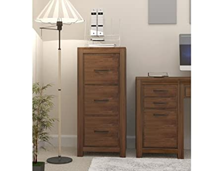 Oakworld Kingston Walnut Three Drawer Filing Cabinet