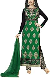 Vivacity Women's Faux Georgette Unstitched Dress Material (Fiona-5185_Green_Free Size)