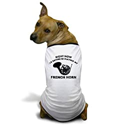 CafePress French Horn silhouette designs Dog T-Shirt - XL White [Misc.] from CafePress