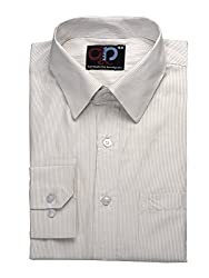 Formals by Koolpals-Cotton Blend Shirt Golden Vertical Stripes on White