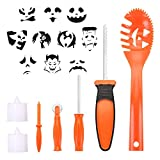 BOBOO Pumpkin Carving Set Halloween Engraving Set Child Carving Tools, 5 Pumpkin Carving Kits, 2 LED Candles and 10 Halloween Style Molds - Pumpkin Party Decoration