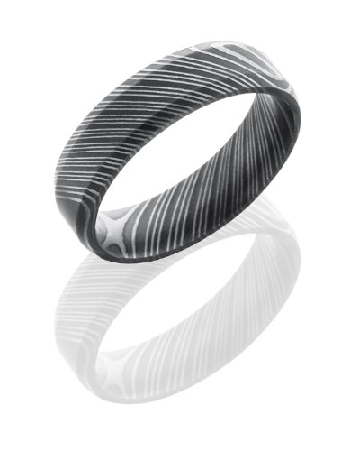 Stainless Steel, Etched Damascus Steel Wedding Band (sz 11.5)