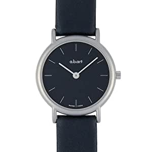 a.b.art Women's Quartz Watch with Black Dial Analogue Display and Black Leather Strap KS103
