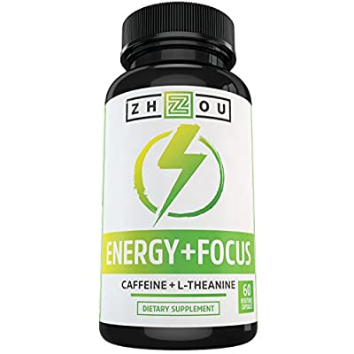Caffeine with L-Theanine for Smooth Energy & Focus - Focused Energy for Your Mind & Body - No Crash ? No Jitters ? All Natural - #1 Nootropic Stack for Cognitive Performance - Veggie Capsules