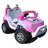 crooza jeep voiture v hicule lectrique pour enfant avec t l commande porteur v lo rose. Black Bedroom Furniture Sets. Home Design Ideas