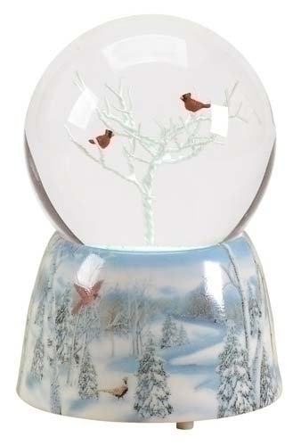 2 Nature's Story Teller Musical Cardinal Christmas Snow Globe Glitterdomes