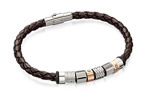 Fred-Bennett-Mens-Jewellery-Collection-Stainless-Steel-Brown-Leather-Bracelet-with-Steel-and-Rose-Gold-PVD-Beads-of-20cm