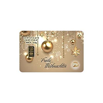 Goldbarren Geschenkkarte 0,5 g 0,5g Gramm Feingold 999.9 Nadir Gold Frohe Weihnachten