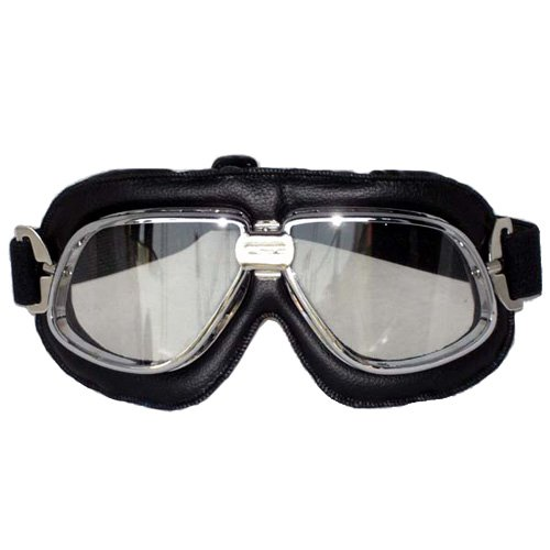 GLX Helmets  Aviator Goggles with Clear Lens (Black)
