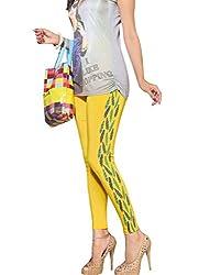 1 stop fashion Yellow Cotton Lycra Leggings