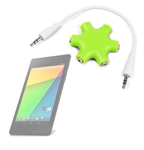 "Duragadget Lime Green 5-Way Headphone Splitter ""Star"" For Google Nexus 7 (7-Inch, 16Gb, Black) By Asus (2013)"