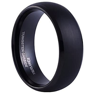 King Will Black Tungsten Ring 8mm Brushed Matte Finished Mens Womens Wedding Band Domed Design Size 7-14