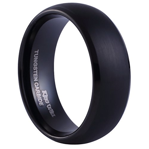 King Will Black Tungsten Ring 8mm Brushed Matte Finished Domed Design Wedding Band(10) (Black Platinum Ring compare prices)