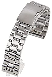 Topwell 22mm Men's Silver Watchband Stainless Steel Watch Bracelet Strap Replacement Metal Watchband