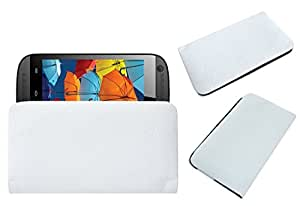 Acm Rich Leather Soft Case For Intex Aqua X Mobile Handpouch Cover Carry White