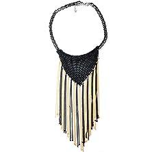 buy Girl Era Bohemia Black Round Chain Collar Mesh Weaving Long Tassels Bib Statement Necklace