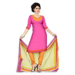 Pink Cotton Casual Wear Dress Material