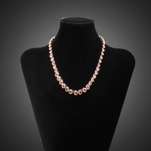 FASHION PLAZA Women's Jewelry Gifts Graduated Champagne Cubic Zirconia Tennis Necklace N140