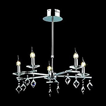 Contemporary crystal chandelier with 5 lights candle for Contemporary chandeliers amazon